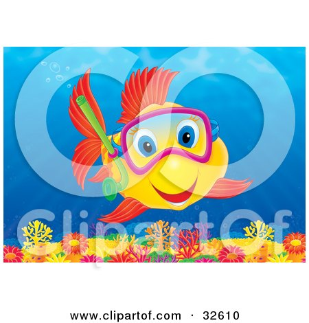 Clipart Illustration of an Excited Yellow Fish With Red Fins And Blue Eyes, Snorkeling And Exploring A Colorful Coral Reef by Alex Bannykh