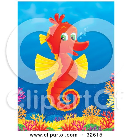 Clipart Illustration of a Happy Red Seahorse With Yellow Fins And Green Eyes, Swimming Above A Colorful Coral Reef by Alex Bannykh