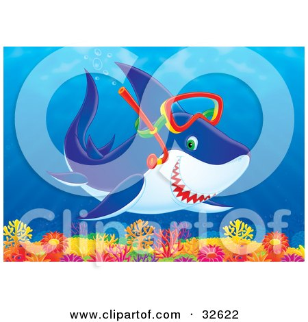 Clipart Illustration of a Snorkeling Shark Swimming Over A Colorful Coral Reef by Alex Bannykh