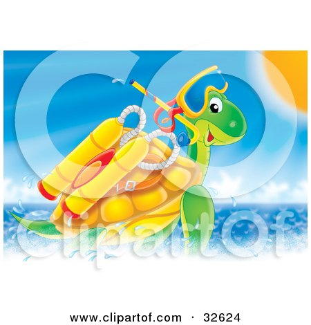 Clipart Illustration of a Sea Turtle Swimming With Scuba Gear On A Sunny Day by Alex Bannykh