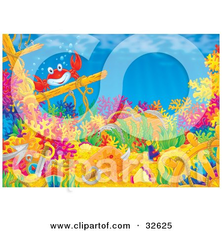 Clipart Illustration of a Friendly Red Crab On A Mast Of A Sunken Ship With Swords, Treasure, A Helm And Map On A Coral Reef by Alex Bannykh