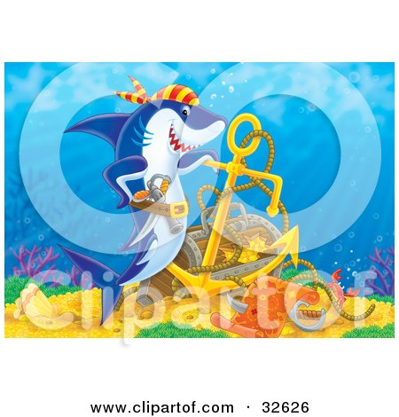 Clipart Illustration of a Pirate Shark Swimming Proudly Over His Found Sunken Treasure In The Ocean by Alex Bannykh