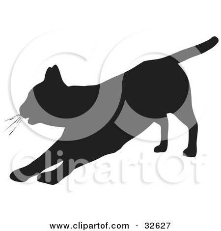 Clipart Illustration of a Lazy Cat Silhouetted In Black, Stretching Out On Its Front Legs by KJ Pargeter