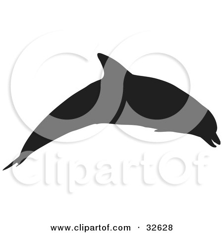 Clipart Illustration of a Dolphin Silhouetted In Black, Leaping by KJ Pargeter