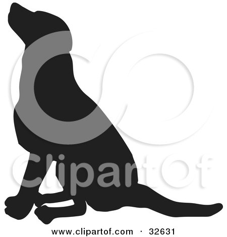 Clipart Illustration of a Seated Dog Silhouetted In Black by KJ Pargeter