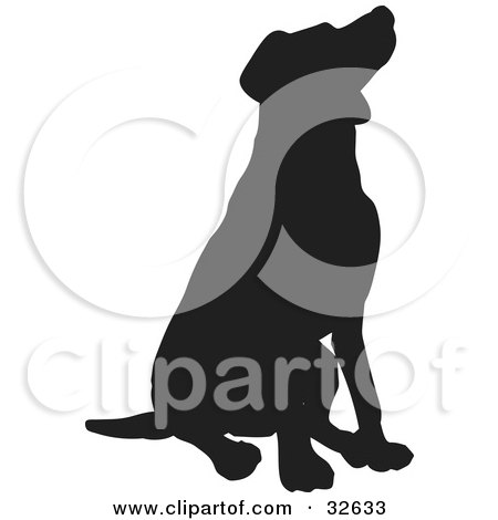 Clipart Illustration of a Behaved Sitting Dog Silhouetted In Black by KJ Pargeter
