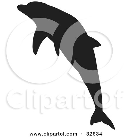 Clipart Illustration of a Leaping Dolphin Silhouetted In Black by KJ Pargeter
