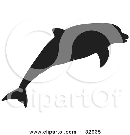 Clipart Illustration of a Black Silhouetted Dolphin Swimming by KJ Pargeter