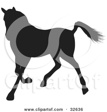 Clipart Illustration of a Trotting Black Silhouetted Horse by KJ Pargeter