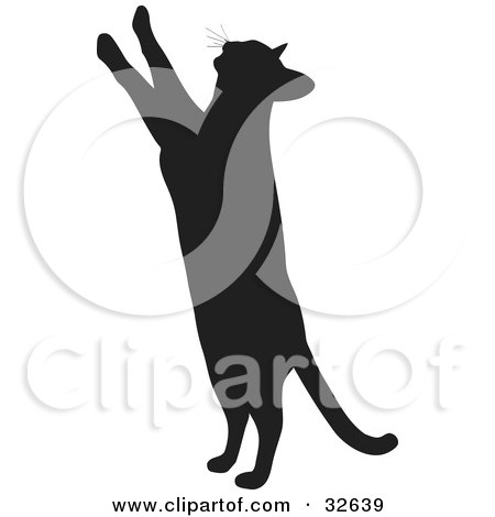 Clipart Illustration of a Curious Cat Silhouetted In Black, Standing Up On Its Hind Legs And Reaching Upward With Its Paws by KJ Pargeter
