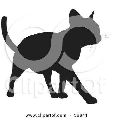 Clipart Illustration of a Cool Cat Silhouetted In Black, Walking Forward by KJ Pargeter