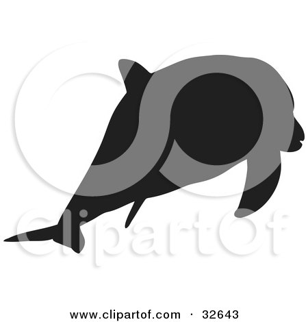 Clipart Illustration of a Swimming Dolphin Silhouetted In Black by KJ Pargeter