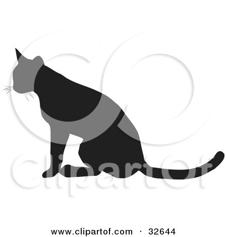 Clipart Illustration of a Seated Cat Silhouetted In Black, Facing Left by KJ Pargeter