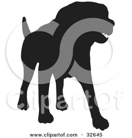 Clipart Illustration of a Standing Dog Silhouetted In Black by KJ Pargeter