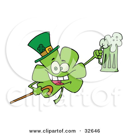 Clipart Illustration of a Partying Clover Character In A Green Hat, Carrying A Cane And A Mug Of Beer On St Patrick's Day by Hit Toon