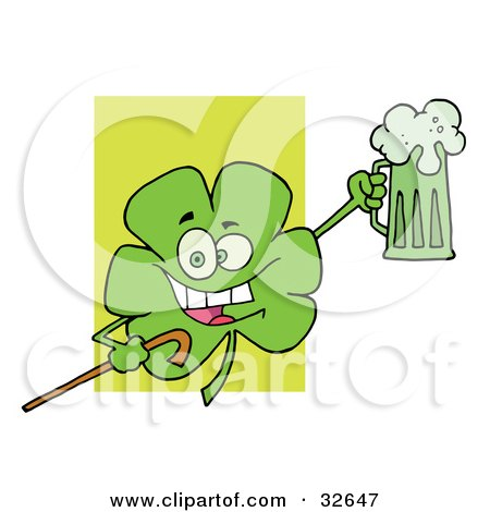 Clipart Illustration of a Happy Green Clover Leaf Cheering With A Mug Of Beer And Carrying A Cane On St Paddy's Day by Hit Toon