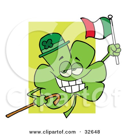 Clipart Illustration of a Shamrock Character Wearing A Green Hat, Holding A Cane And A Flag, Celebrating St Paddy's Day by Hit Toon