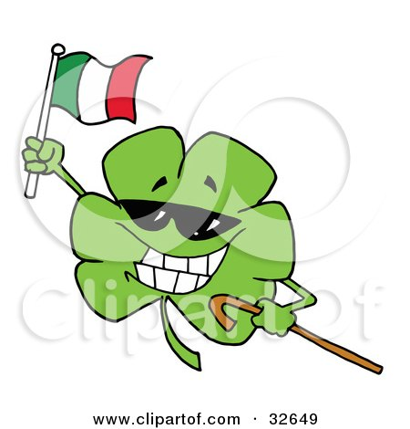 Clipart Illustration of a Clover Wearing Sunglasses, Carrying A Cane, And Waving An Irish Flag On St Patrick's Day by Hit Toon