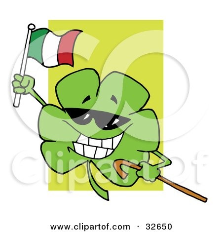 Clipart Illustration of a Happy Shamrock Carrying A Cane And Waving An Irish Flag On St Paddy's Day by Hit Toon