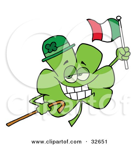 Clipart Illustration of a Clover Character Wearing A Green Hat, Holding A Cane And A Flag While Celebrating St Patrick's Day by Hit Toon