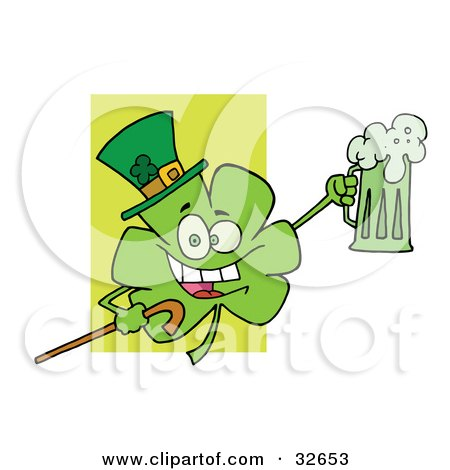 Clipart Illustration Of A Shamrock Character In A Green Hat Carrying A Cane And A Toasting With A Mug Of Beer On St Paddys Day