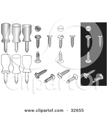 Flathead Screws And Screwdrivers On White And Black Backgrounds Posters, Art Prints