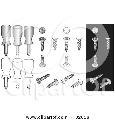 Clipart Illustration of Phillips Screwdrivers And Screws On White And Black Backgrounds by J Whitt