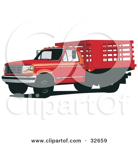Clipart Illustration of a Red Ford F-350 Truck With A Caged Bed by David Rey