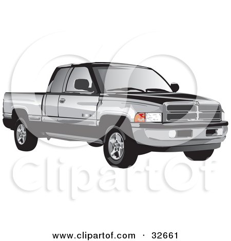 Clipart Illustration of a Black And Gray Dodge Ram Truck by David Rey