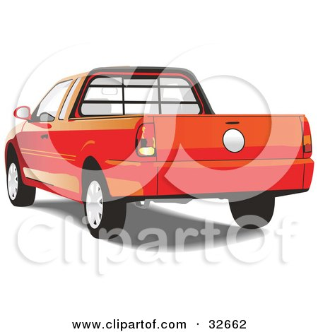Clipart Illustration of a Rear View Of A Red Pickup Truck by David Rey