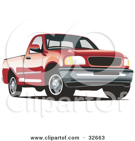 Clipart Illustration of a Red Ford F-150 Pickup Truck by David Rey