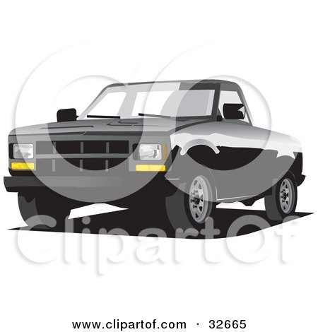 Clipart Illustration of a Black Chevrolet C-2500 Truck by David Rey