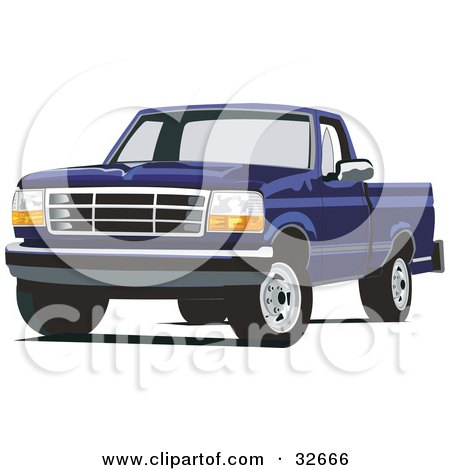 Clipart Illustration of a Blue Ford F-150 Truck by David Rey