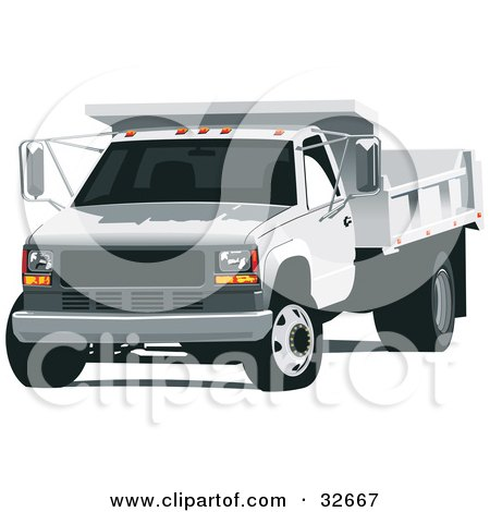 Clipart Illustration of a White Dump Truck by David Rey