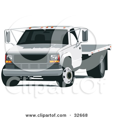 Clipart Illustration of a White Flatbed Truck by David Rey