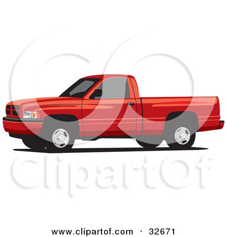 Clipart Illustration of a Red Dodge Ram Pickup Truck With Tinted Windows by David Rey