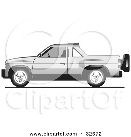 Clipart Illustration of a Silver Tata Sumo Pickup Truck by David Rey