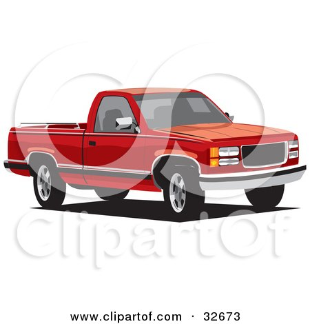 Clipart Illustration of a Red Chevy Cheyenne Truck by David Rey