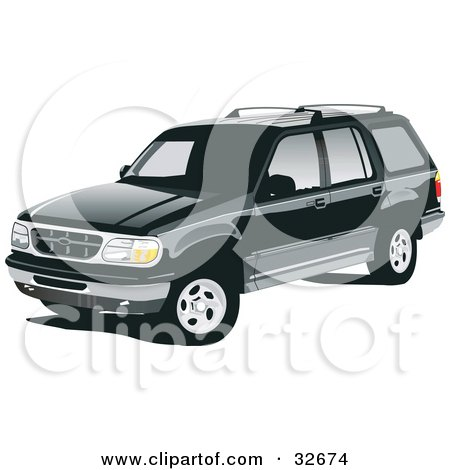 Clipart Illustration of a Black Ford Explorer SUV With Privacy Glass by David Rey
