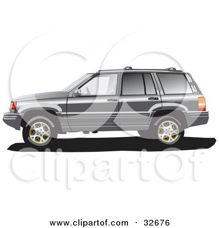 Clipart Illustration of a Gray Jeep Grand Cherokee SUV In Profile, With Tinted Windows by David Rey