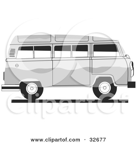 Clipart Illustration of a White Combo Van In Profile by David Rey