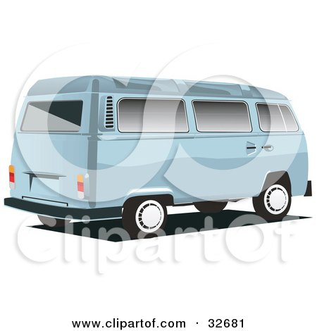 Clipart Illustration of a Pastel Blue Combo Van by David Rey