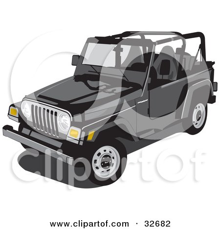 Clipart Illustration Of A Black Jeep Wrangler Convertible With The