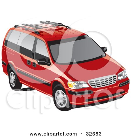 Clipart Illustration of a Red Chevrolet Venture Minivan With Tinted Windows by David Rey