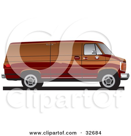 Clipart Illustration of a Brown Full Sized Van In Profile by David Rey