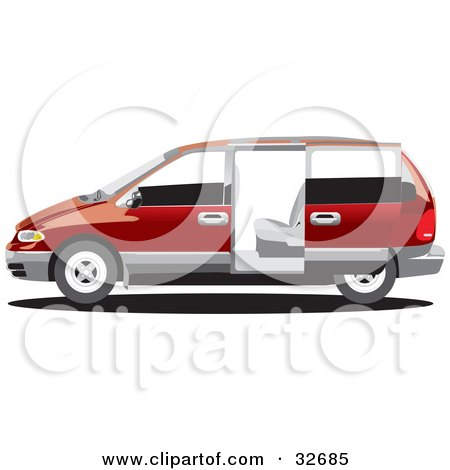 Clipart Illustration of a Red Chrysler Voyager Minivan With Tinted Windows, In Profile With The Slider Door Open by David Rey