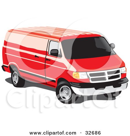 Clipart Illustration of a Red Full Size Van With Tinted Windows by David Rey