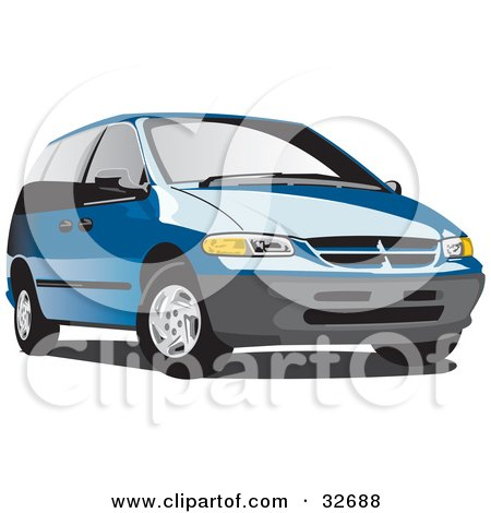 Clipart Illustration of a Blue Plymouth Voyager Minivan With Tinted Windows by David Rey