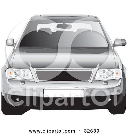 Clipart Illustration of a Front View Of A Silver Audi Car With A Sunroof by David Rey