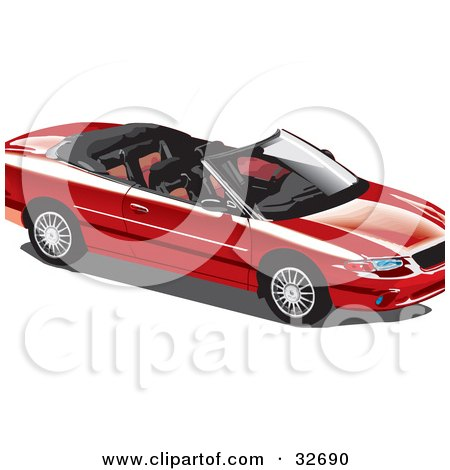 Clipart Illustration of a Convertible Red Car With The Top Off by David Rey